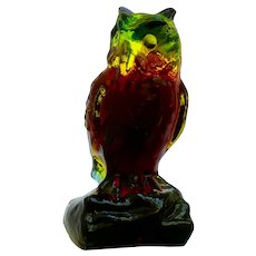 Witty Owl Boyd's Slag Glass Paperweight Red, Yellow and Green