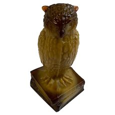 Witty Owl Slag Glass Degenhart Paperweight Brown and Coffee Colored
