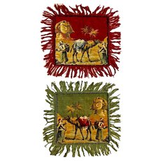 Vintage Egypt Fringed Table Tapestry Circa 1940s