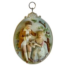 Arco Courting Couple Raised Relief Bisque Porcelain Wall Plaque Japan