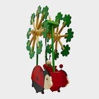 Adorable Ladybug Wooden Mobile Handmade for Baby Nursery