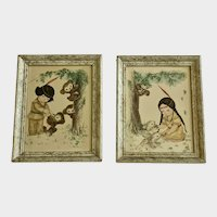 Pair of Mid-Century Framed Prints Indian Girl and Boy with Animals