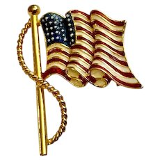 Patriotic American Flag USA Forth of July Gold-tone Brooch Pin