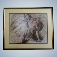 Dancer Adjusting Her Shoe Print Degas Ballerina Offset Lithograph Behind Frosted Glass
