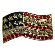 Patriotic American Flag USA Forth of July Silver-tone Brooch Pin