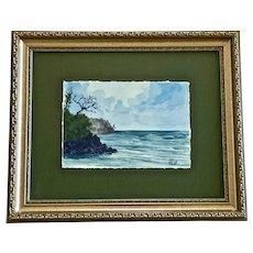 David Farrell, Playa De Suleman Coastal Watercolor Painting