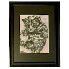 C Shapiro, Black and White Kitty Cat Mixed Media Painting Works on Paper
