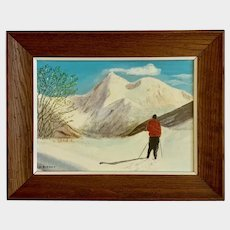 D Berney, Colorado Skier Figural Oil Painting