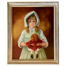 Sarah A Boardman, Portrait Country Girl Doll Oil Painting Listed Colorado Artist