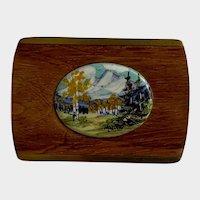 Mountain Landscape on Porcelain Hand Painted Wood Brass Belt Buckle Signed