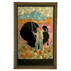 Tinsel Foil Reverse Glass Painting Turkey Hunting Boy
