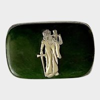 Jade Lady Justice Belt Buckle Pictorial Maker's Mark 0367 Men's
