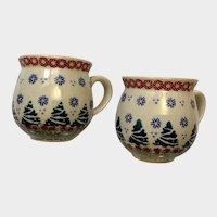 Christmas Boleslawiec Polish Pottery I. Roman Bubble Coffee Cups 1998 Poland