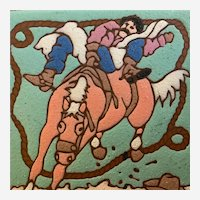 Bucking Bronc Rider Cowboy Rodeo Western Show Tile Wall Plaque