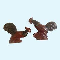 Rosemeade Fighting Roosters Cock Figurines Vintage Dakota