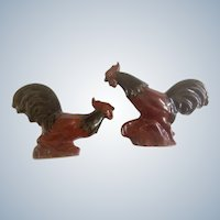 Rosemeade Fighting Roosters Cock Figurines Vintage Dakota