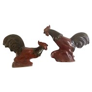 Vintage Dakota Rosemeade Fighting Rooster Cock Figurines
