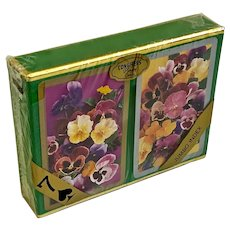 Vintage Floral Congress Playing Cards With Caddy NOS