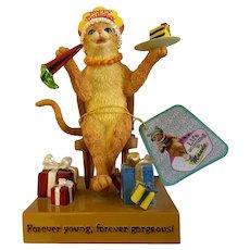 Silly Happy Birthday Cat Life According to Maude Rare HTF Figurine