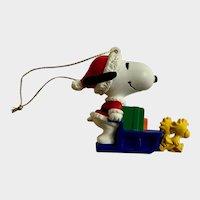 Santa Snoopy and Woodstocks Pulling Sled Christmas Ornament Peanuts