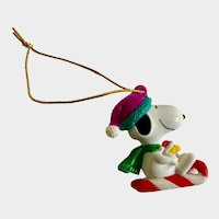 Candy Cane Snoopy and Woodstock Sledding Christmas Ornament