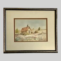 B Little, Old Abandoned Church Ojo Caliente Watercolor Painting