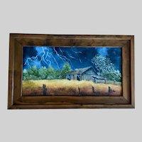 Doris Taylor, Summer Storm Over Barn Landscape Oil Painting Kentucky Artist