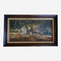 Doris Taylor, Winters Thunderstorm Barn Landscape Oil Painting Kentucky Artist