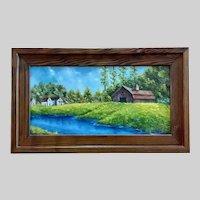 Doris Taylor, Spring Flowers Barn Landscape Oil Painting Kentucky Artist