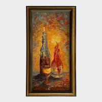 Elizabeth Kwaak Smischny (1936-1984) Retro Bottles And Candles Oil Painting