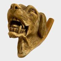 Vintage Meerschaum Carved Hunting Dog Head Teeth Showing Pipe Highly Detailed