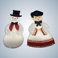 Snowman & Choir Boy Christmas Light Switch Covers Mid-Century Decoration