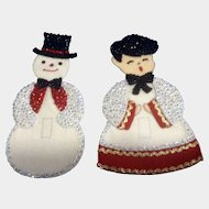 Snowman & Choir Boy Christmas Light Switch Covers Beautiful Felt and Sequins Handmade Mid-Century Decoration