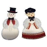 Beautiful Felt and Sequins Christmas Snowman & Choir Boy Light Switch Covers Handmade Mid-Century Decoration