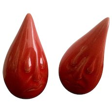 Vintage Anthropomorphic Teardrop Sad Faced RED Salt & Pepper Shakers Signed by Artist K.H. Mid-Century Figurines