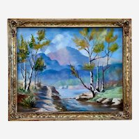 Raymond Hawes, Path Along Mountainside Creek Oil Painting