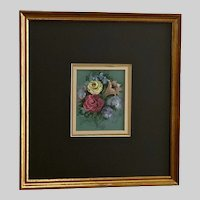Rhea, Floral Bouquet of Flowers Still Life Gouache Watercolor Painting 19th Century