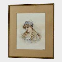 Antique Portrait of an European Peasant Girl Watercolor Painting