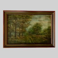 Old Road Home Through Woods Antique Landscape Oil Painting