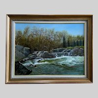 Kiara Rozner, By a River Landscape Oil Painting