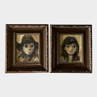 Sabin Cahrn, French Young Man and Woman Portraits Oil Paintings