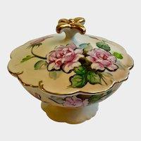 Vintage Hand Painted Porcelain Candy Dish Floral Pink Roses Lidded Pedestal Dish