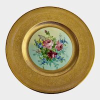 Hutschenreuther LHS Dinner Plate Floral Gold Encrusted Flying Dragon Trim John Wanamaker
