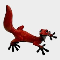 Kitty's Critters Red Lizard Fresa Extra Large Gecko Figurine