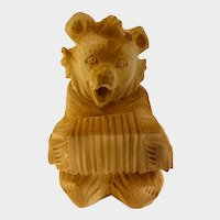 Hand Carved Russian Bear Folk Art Accordion Musician Signed