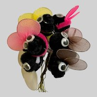 BIG Bumble Bees 1980s Chenille Wiggly Eyes for Crafts