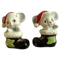 Vintage Homco Christmas Mice in Santa Shoes Figurines