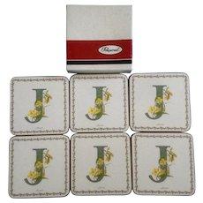 Vintage Pimpernel Coaster Set J Initial Alphabet Florals Flower Jasmine Made in England
