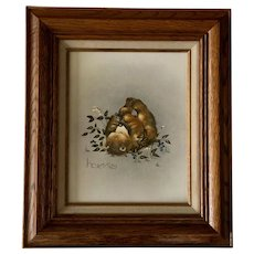 Peggy Harris, Oil Painting Baby Bear Cub Eating Berries