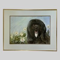 Mary H Wright, Black Sheepdog  Contemporary Portrait Watercolor Painting